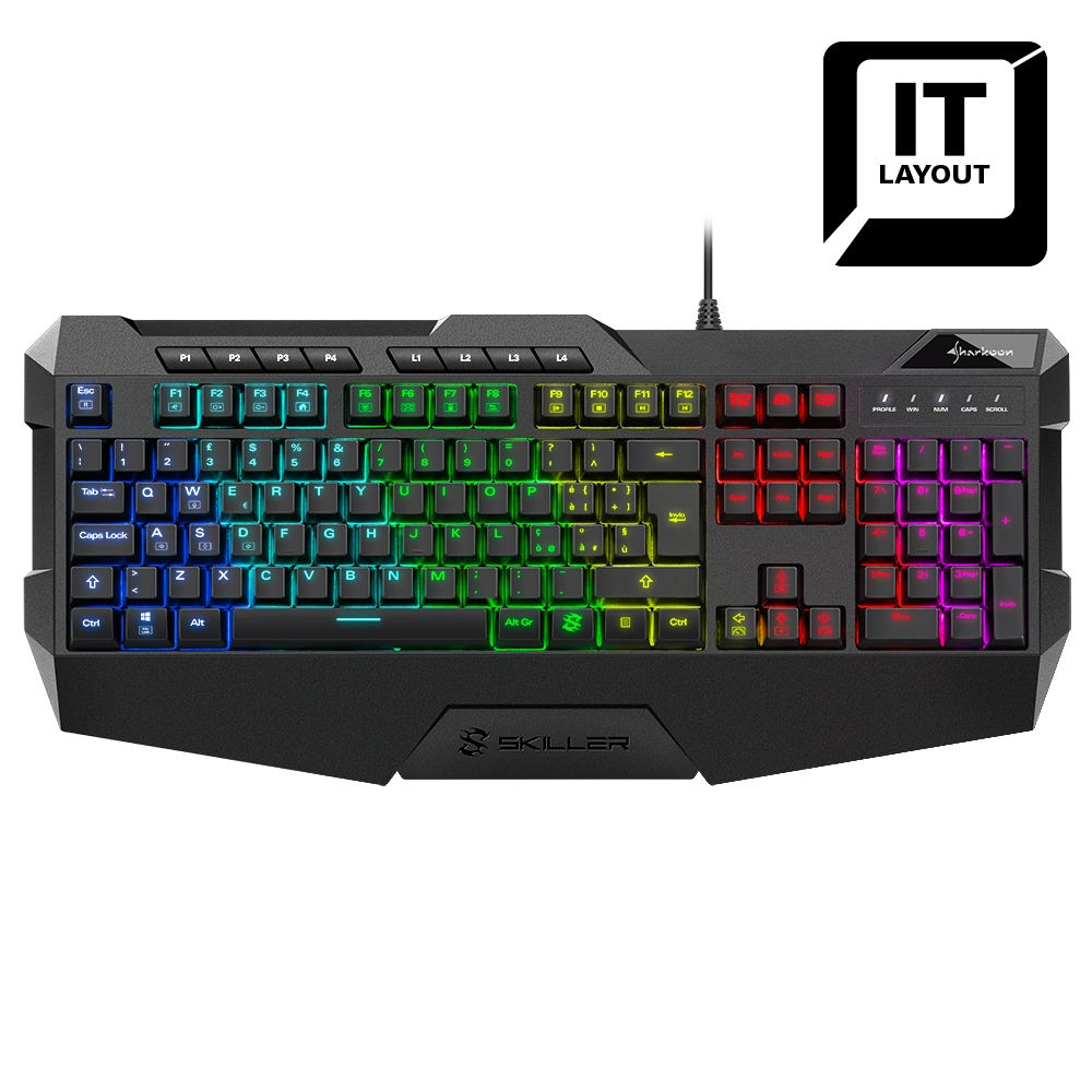 SHARKOON TASTIERA GAMING SGK4 USB LED RGB 6 ZONE LAYOUT ITA
