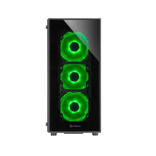 SHARKOON CASE TG5, ATX, 2XUSB2 ,2XUSB3, 7 SLOTS, 3X120 LED FRONT 1X120 REAR, WINDOW VETRO TEMPERATO, GREEN