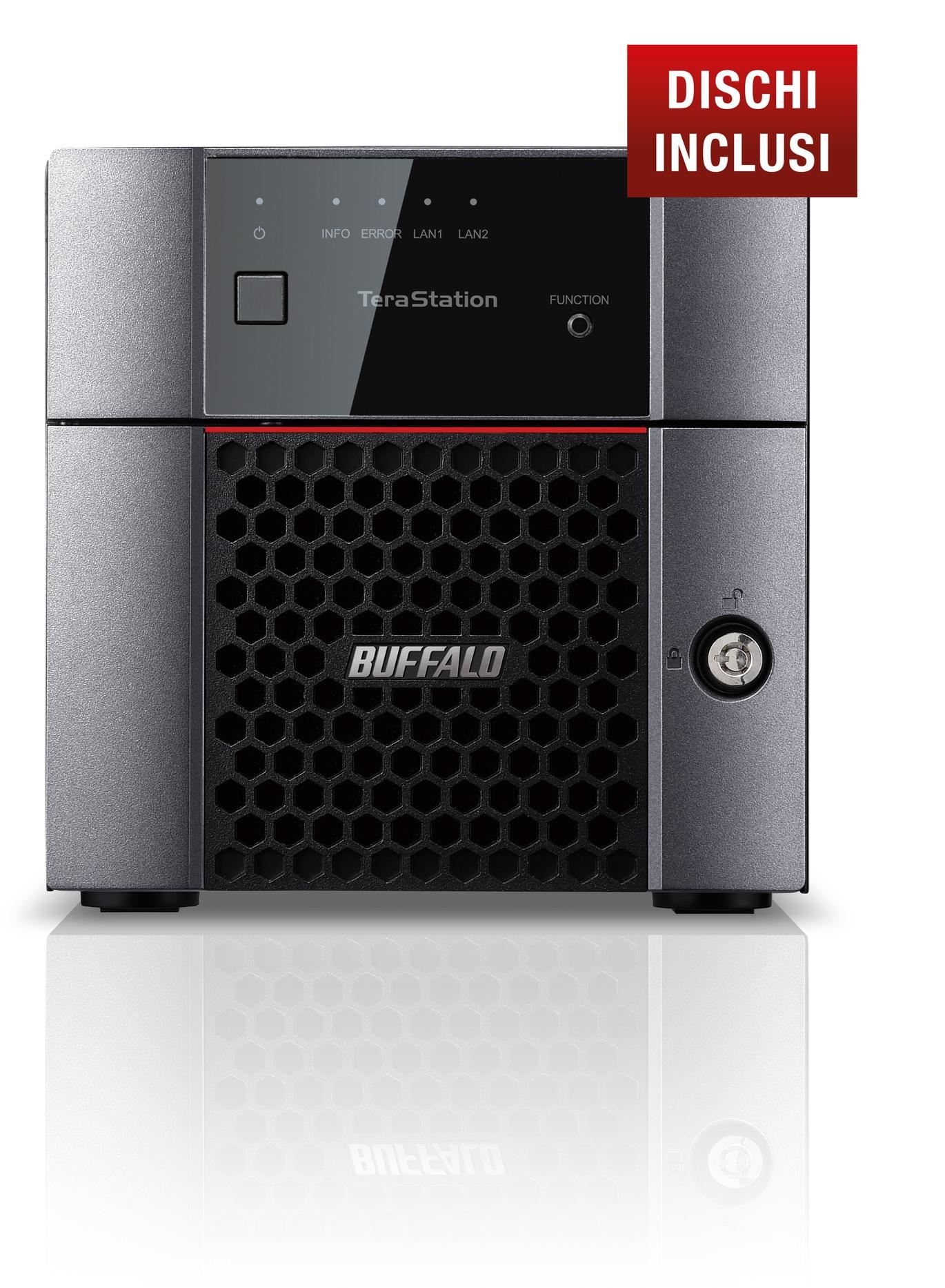 BUFFALO NAS TERASTATION 3210 DESKTOP 2X1TB HDD SATA GIGABIT ETHERNET USB2.0 E 3.0 1,40GHZ 1GB RAM DDR3