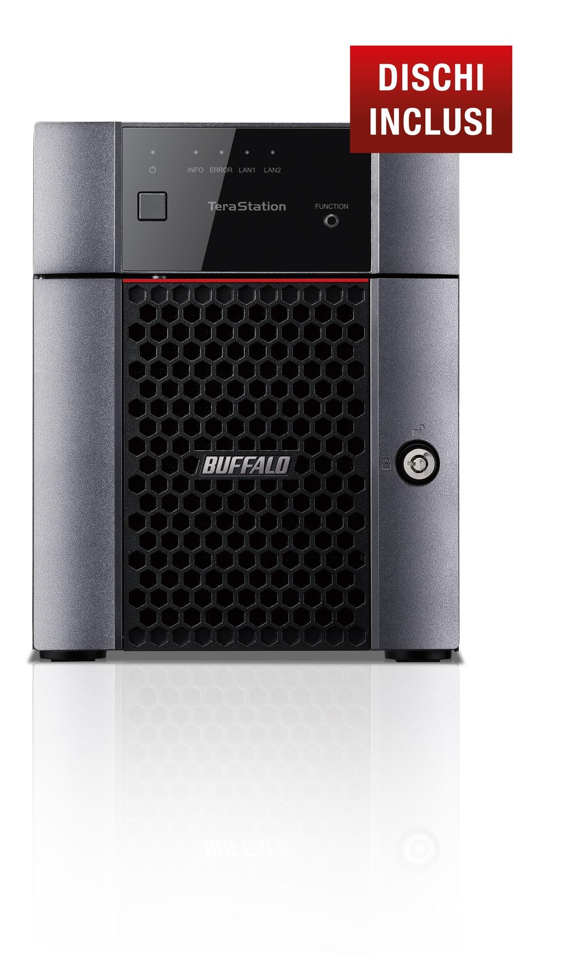 BUFFALO NAS TERASTATION 3410 DESKTOP 4X3TB HDD SATA GIGABIT ETHERNET USB2.0 E 3.0 1,40GHZ 1GB RAM DDR3