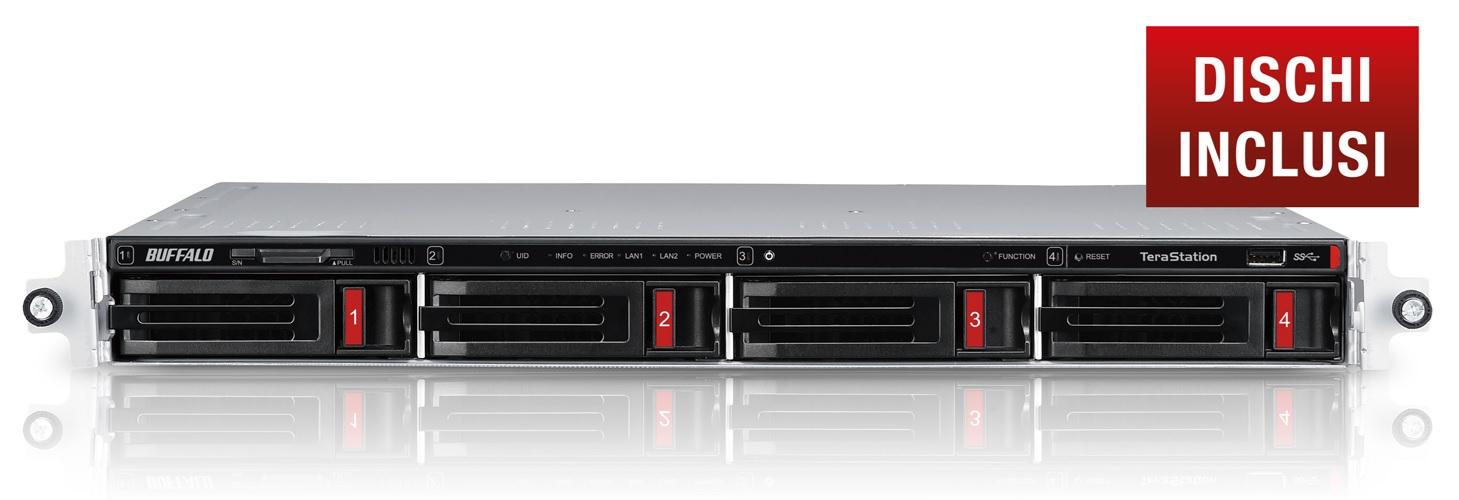 BUFFALO NAS TERASTATION 3410 RACK 4X1TB HDD SATA GIGABIT ETHERNET USB3.0 1,40GHZ 1GB RAM DDR3