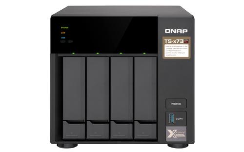 QNAP NAS TS-473 4BAY 512MB MEMORIA FLASH, AMD R-SERIE QUADCORE 2.10 GHZ, RAM 4GB DDR4 SDRAM, SERIAL ATA/600 CONTROLLER, SUPPORTO RAID, LAN GIGABIT