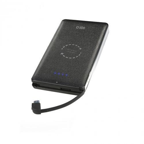 SBS POWER BANK POLIMERO 5000 MAH CON 1 USCITA USB 2,1 A E RICARICA WIRELESS QI INTEGRATA NERO