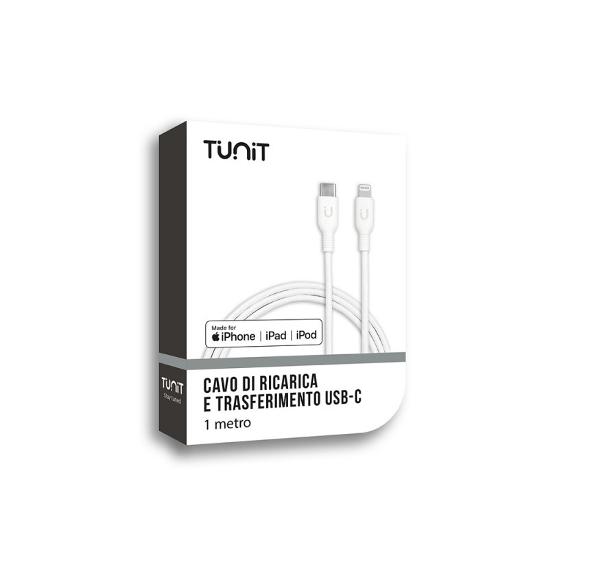 TUNIT CAVO DA LIGHTNING A USB-TUNIT CAVO DA LIGHTNING A USB-C 1M BIANCO ABS+PC PER IPOD IPHONE E   IPAD
