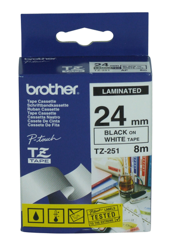 BROTHER NASTRO LAMINATO DA 24MM (8M) NERO/BIANCO