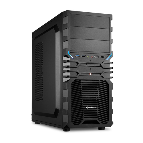 SHARKOON CASE VG4-V, ATX, 6 SLOTS EXPANSION, 2 USB2.0/3.0 FRONT, DRIVE BAY DA 2,5/3,5/5,25, 2X120MM FAN INSTALLED (1 FRONT/1 REAR), NO PSU, NERO