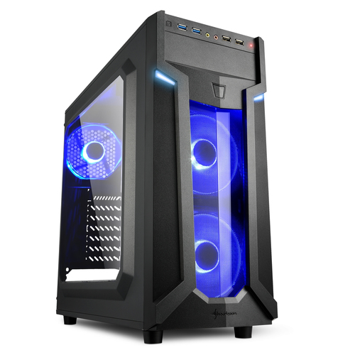 SHARKOON CASE VG6-W BLUE, ATX, 2XUSB2, 2XUSB3, 6 SLOTS, 2X120 LED FRONT 1X120 REAR, WINDOW ACRILIC, BLUE