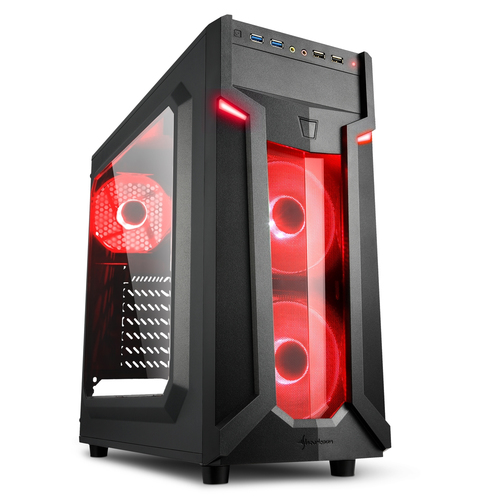 SHARKOON CASE VG6-W RED, ATX, 2XUSB2, 2XUSB3, 6 SLOTS, 2X120 LED FRONT 1X120 REAR, WINDOW ACRILIC, RED