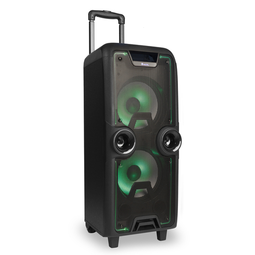 NGS CASSA BLUETOOTH PORTATILE 200W 2X SUBWOOFER + 1X TWEETER, MICROSD, USB, FM, AUX IN, LED COLORATI, FORMATO TROLLEY