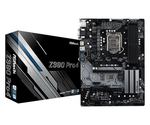 ASROCK MB Z390 PRO4 LGA 1151 4DDR4 2PCI-E X16 M2 DVI/HDMI ATX, COFFEE LAKE