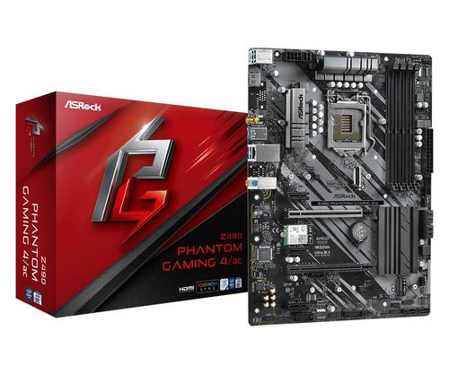 ASROCK MB Z490 PHANTOM GAMING 4/ac LGA 1200 4DDR4, 2 PCIE 3.0 X16, 3 PCIE 3.0 x1, 1 M2, 6SATA3, 7.1 CH ATX