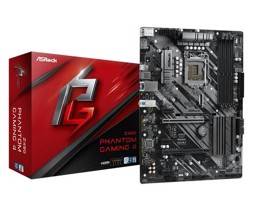 ASROCK MB Z490 PHANTOM GAMING 4 LGA 1200 4DDR4, 2 PCIE 3.0 X16, 3 PCIE 3.0 X1, 1 M2, 6 SATA3, 7.1 CH ATX