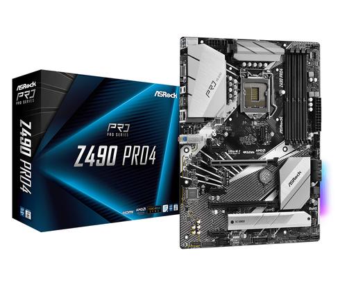 ASROCK MB Z490 PRO4 LGA 1200 4DDR4, 2 PCIE 3.0 X16, 3 PCIE 3.0 X1, 2 M2, 6 SATA3, 7.1 CH ATX